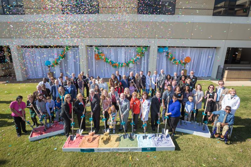Confetti and cheers surrounded leaders in government and medicine, patients and their families as they broke ground Dec. 1, 2017 for a new children's tower adjacent to Batson Children's Hospital.