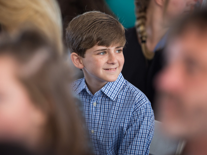 Felton Walker, a Batson Children's Hospital patient, smiles during the groundbreaking ceremony Friday.