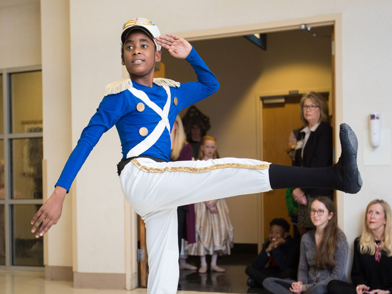 "Wilton McDowell of Ballet Mississippi dances the role of the soldier doll in the troupe's presentation of scenes from ""The Nutcracker"" Tuesday during BankPlus Presents Light A Light."