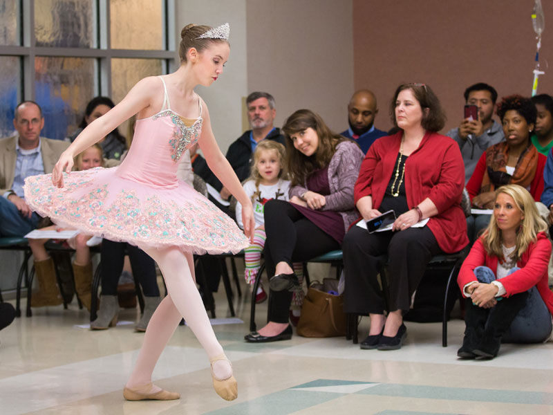 "Dancing the role of the Sugar Plum Fairy is Kimberly Blount of Ballet Mississippi. The troupe brings scenes from ""The Nutcracker"" to Batson Children's Hospital each year as part of BankPlus Presents Light A Light."