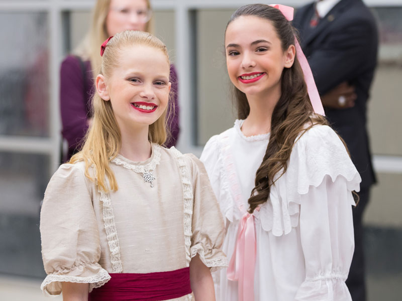 Marie is shown in a party dress (Frances Claire Jackson) and in a white gown (Faith Merkh). The two dancers were part of Ballet Mississippi's performance Tuesday at Batson Children's Hospital.