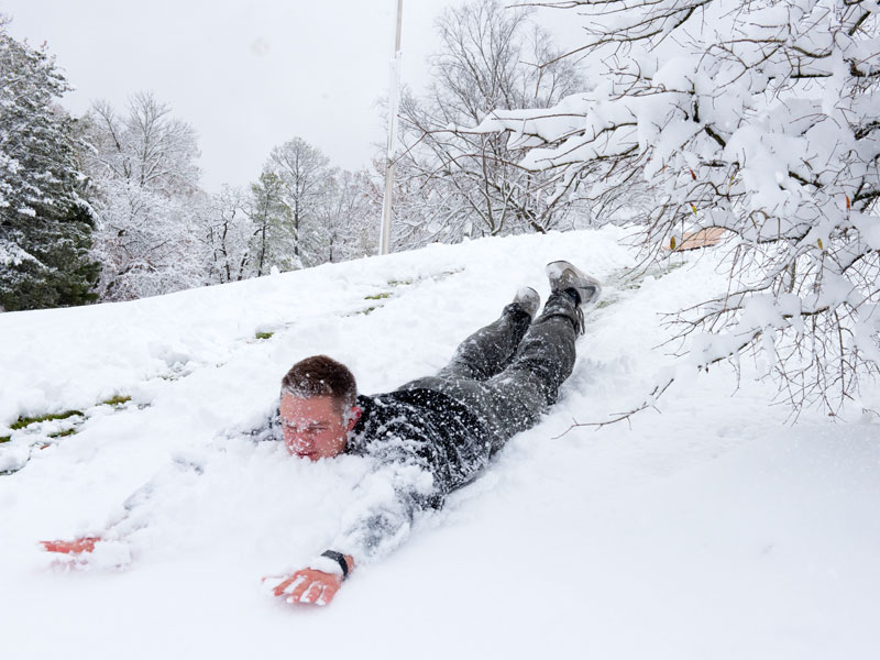 First-year physical therapy student Cole Stephens has no need for a sled to facilitate his snowy descent.