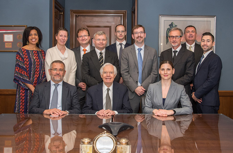 Pruett, standing fourth from right, along with research and industry representatives, met with Sen. Cochran to discuss the potential for in silico clinical trials.