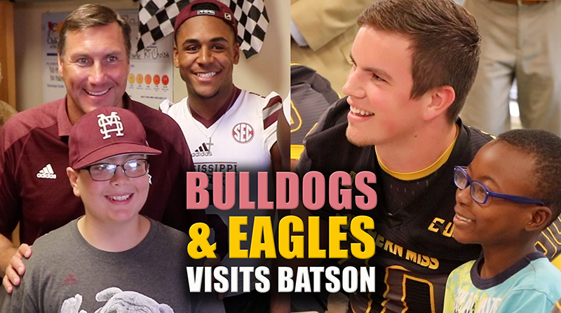 Video: Bulldogs, Eagles team up to cheer on Batson patients
