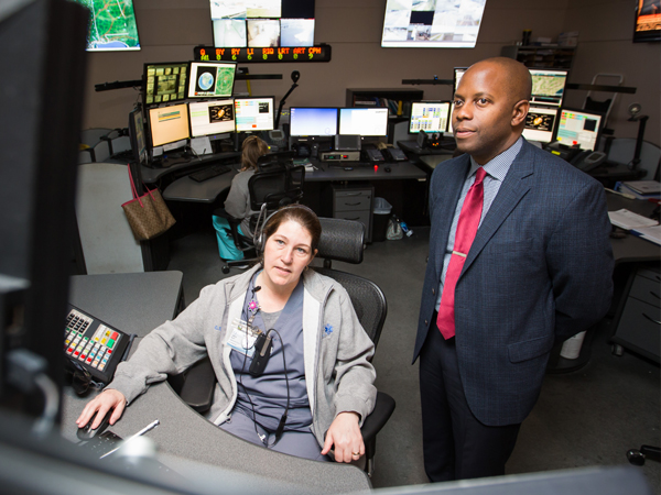 Before the lecture, Williams takes a tour of Mississippi MED-COM, where communications specialist Candice Talley describes how the department aids agencies throughout the state during emergencies.