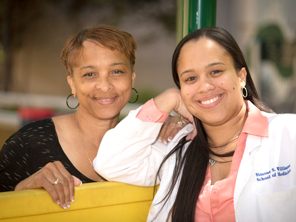 Luella Williams, left, was a vital part of her daughter's support system during medical school.
