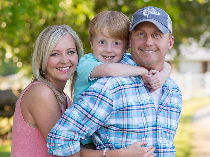 The Sanderford family: Stephanie, Jason and Cayson