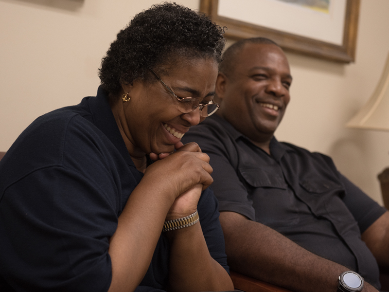 Laughter follows most stories told by Edwina and David Franklin of Brookhaven. David Franklin has been a caregiver for his wife and the couple have helped many others, including two women now battling cancer.