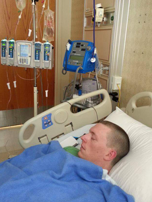 Caleb Rich rests soon after receiving a stem cell infusion in 2013.