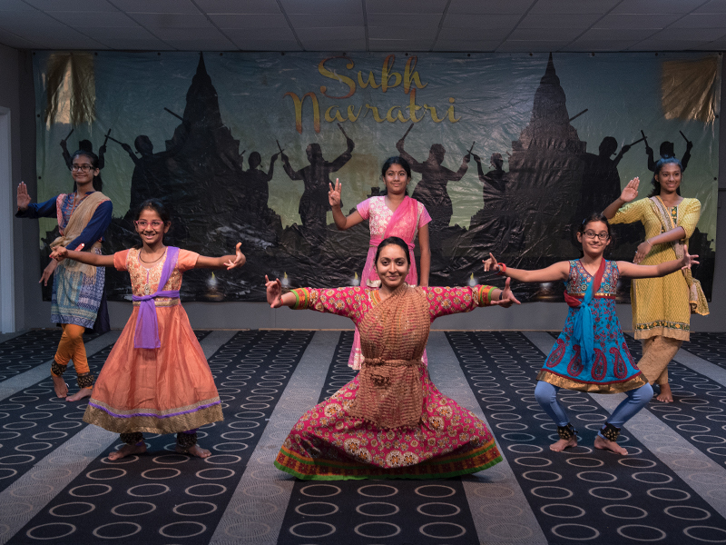 Deepti Patki, center, with students from left, Vaibhavi Mahajan, Ria Aggarwal, Savita Venkataraman, Shreya Tandon and Ankita Talukdar rehearse the traditional Indian dance Bharatnatyam for the upcoming Diwali festival celebration.