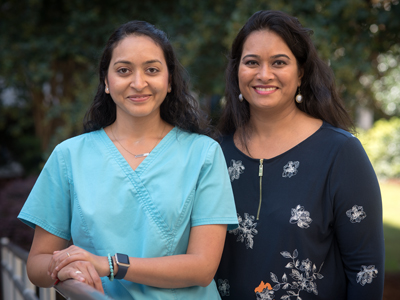 From the left are Patki and her sister, Gouir Mahajan.