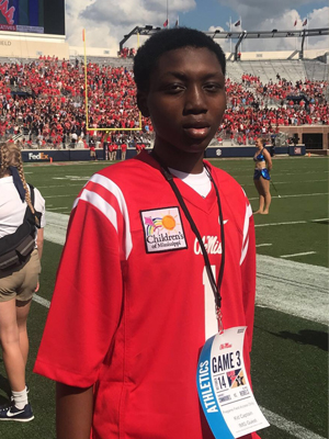 Sports fan Fred Johnson of Indianola represented Batson Children's Hospital Saturday at the Ole Miss win against Vanderbilt.