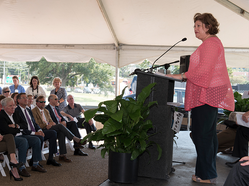 Cancer survivor Ramona Walters Anderson describes at Tuesday's groundbreaking ceremony how the Hope Lodge in Birmingham helped her.