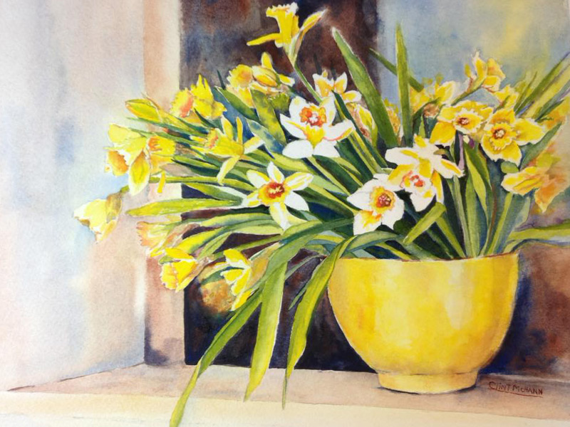 Daffodils, watercolor by Clint McHann