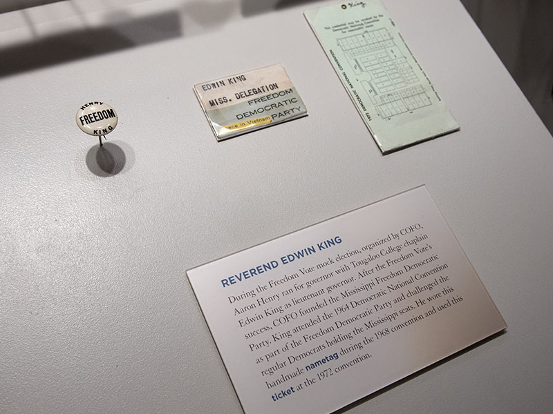 Items on display in this Mississippi Civil Rights Museum exhibit include the Rev. Ed King's handmade name tag, which he wore as a member of the delegation for the Mississippi Freedom Democratic Party during the Democrats' 1968 convention, and the ticket he used at the 1972 convention.