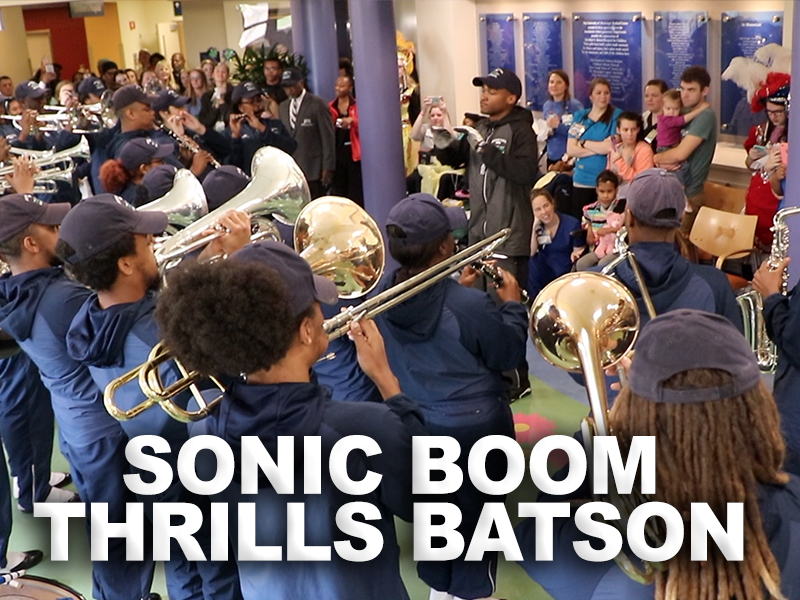 Video: Sonic Boom brings Mardi Gras beat to Children's Hospital