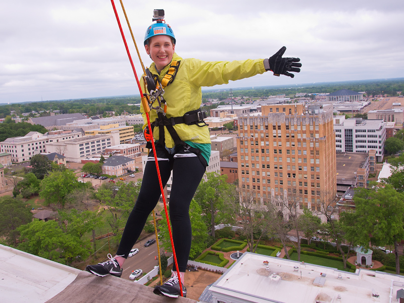 Jennifer Stephen, director of critical care and emergency services at Batson Children's Hospital, was among those rappelling off the 14-story Trustmark building in Over The Edge with Friends, a fundraiser for Friends of Children's Hospital that raised more than $173,000.