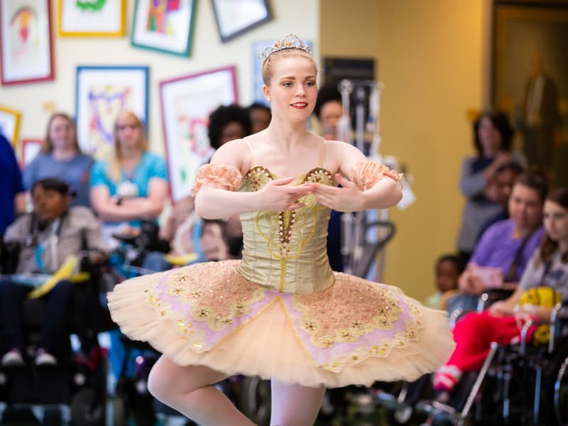 Mississippi Metropolitan Ballet dancer Taylor Binkley of Brandon is captured mid-pirouette. Hospital school and child life staff are working to add performing arts to learning programs at Batson.
