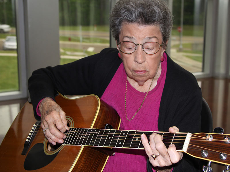 Dudley stays active by playing mandolin and guitar with the Mississippi Old Time Music Society, a group she helped found more than 20 years.