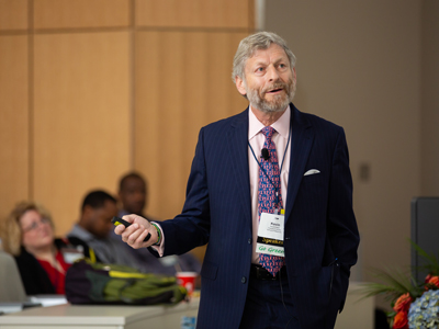 Dr. Kevin Krane, vice dean for academic affairs at Tulane University School of Medicine, describes the history of medical education during Thursday's plenary session.