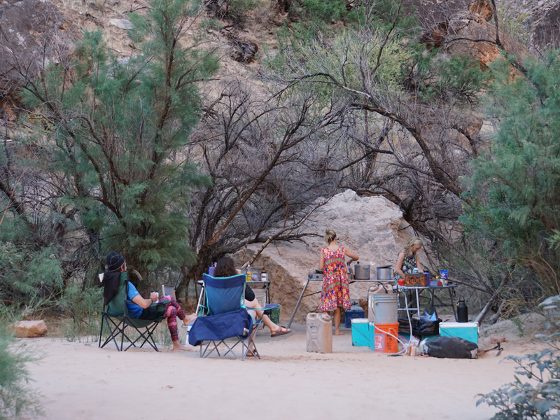 Camped on a strip of beach inhabited by stunted trees and king-sized rocks, members of the crew ready a meal.