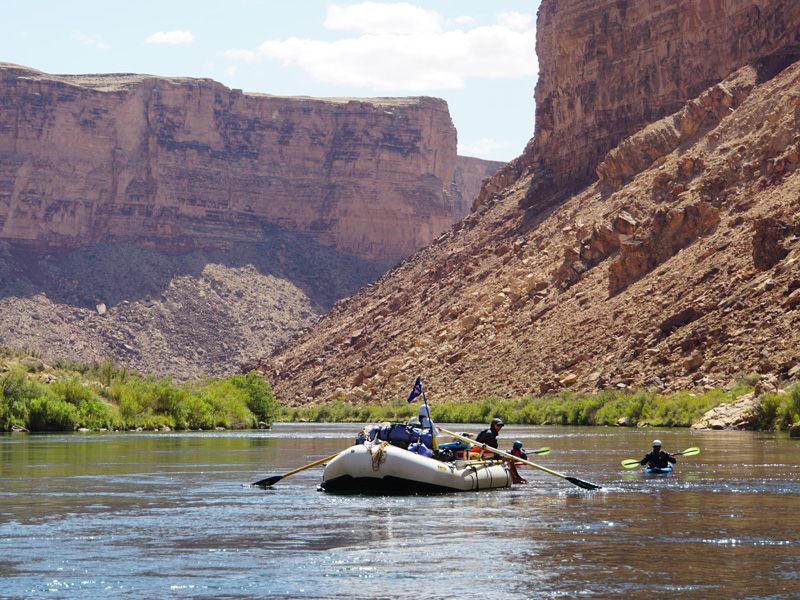 On the first day of the river journey, the Colorado is deceptively calm at this point.