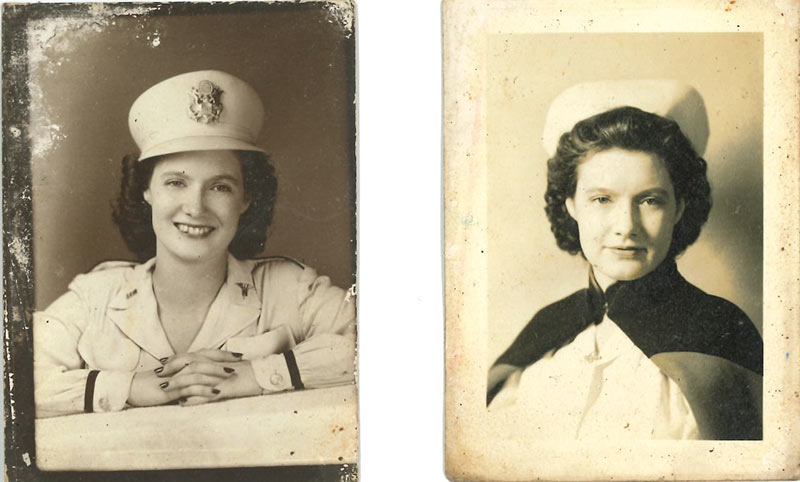 Alma Lowry Hill was an Army nurse during World War II, left,  and, later, a school nurse, right.
