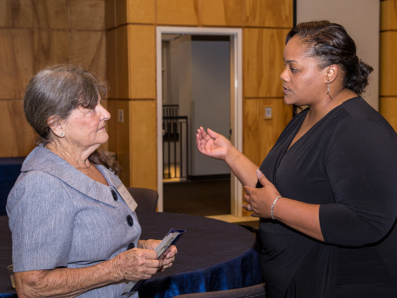 Baird and Pittman get acquainted during a Student Union reception celebrating Pittman as the first-ever recipient of the Alma Lowry Hill Chair of Family Medicine.