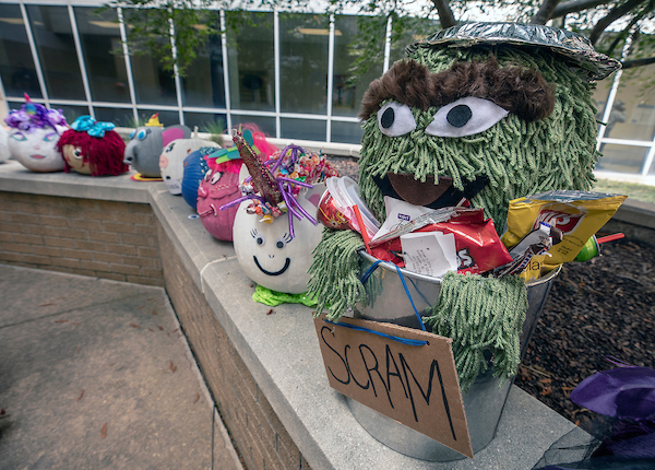 Oscar the Grouch was among the decorated pumpkins donated by Express Employment Professionals to the Batson Halloween party Wednesday.
