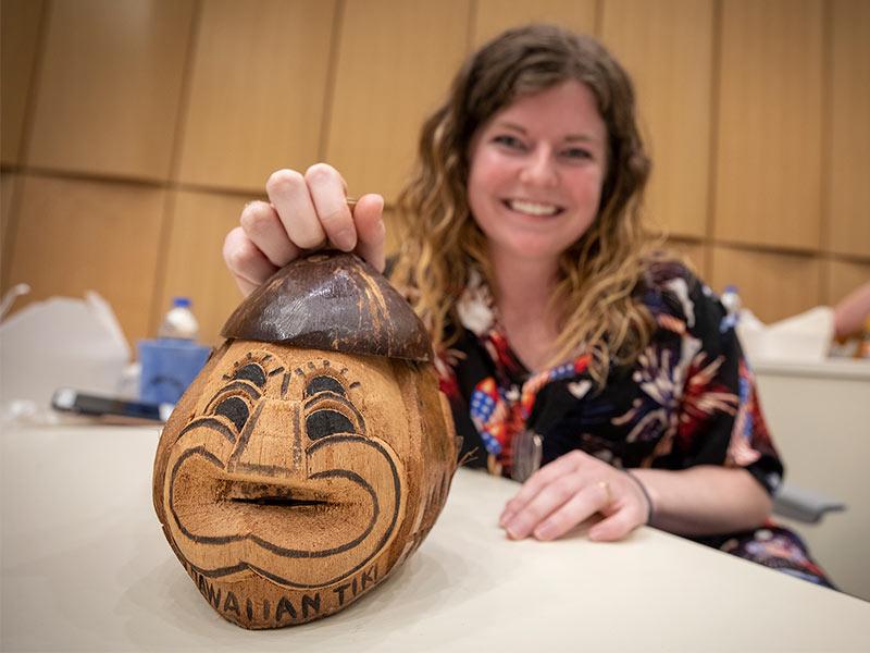 Photos: Test-laden med students lighten mood with Hawaiian