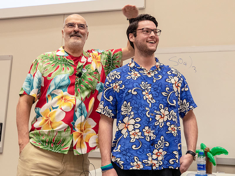 Photos: Test-laden med students lighten mood with Hawaiian shirt contest