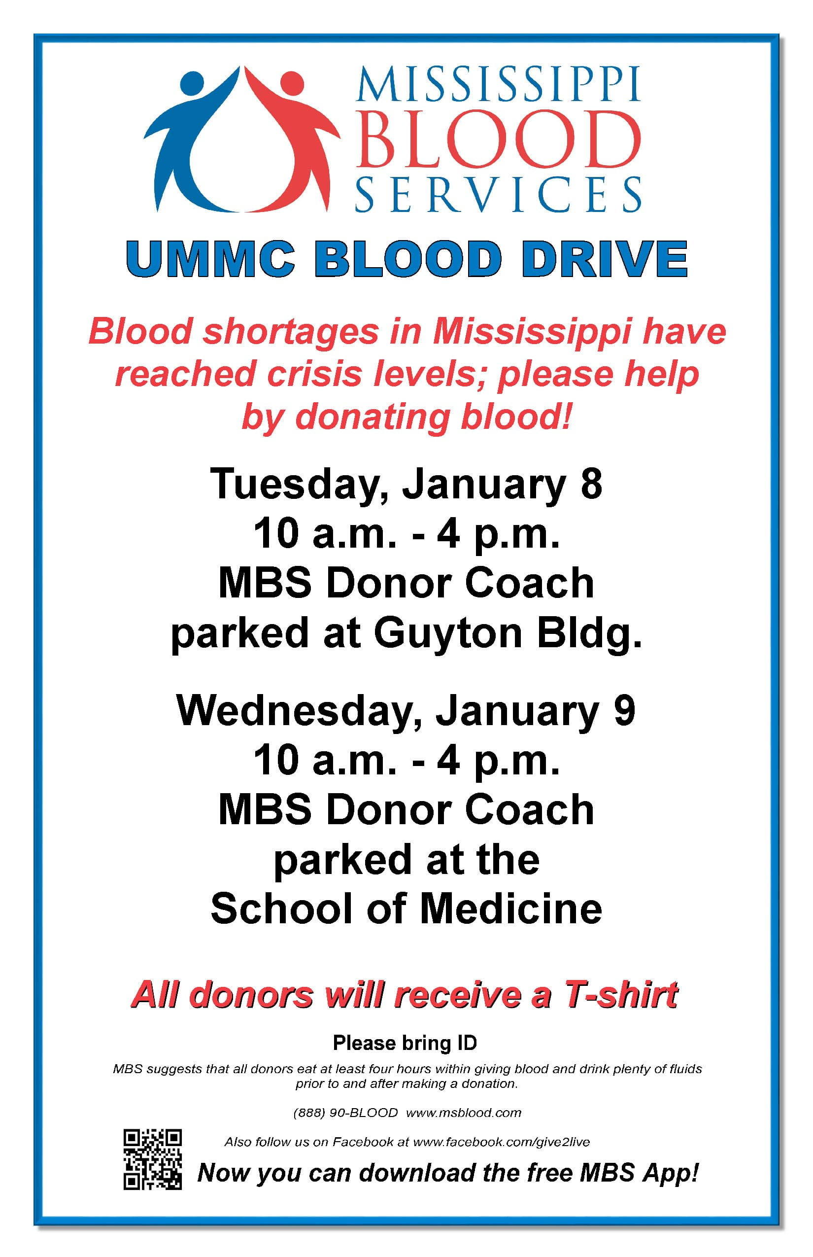 Emergency campus blood drive to allow UMMC community to give back