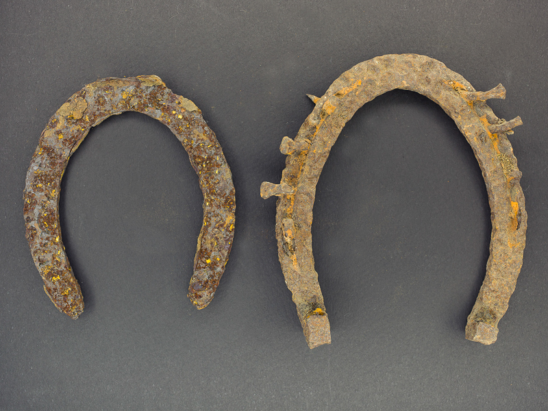 Old horseshoes with gray background.