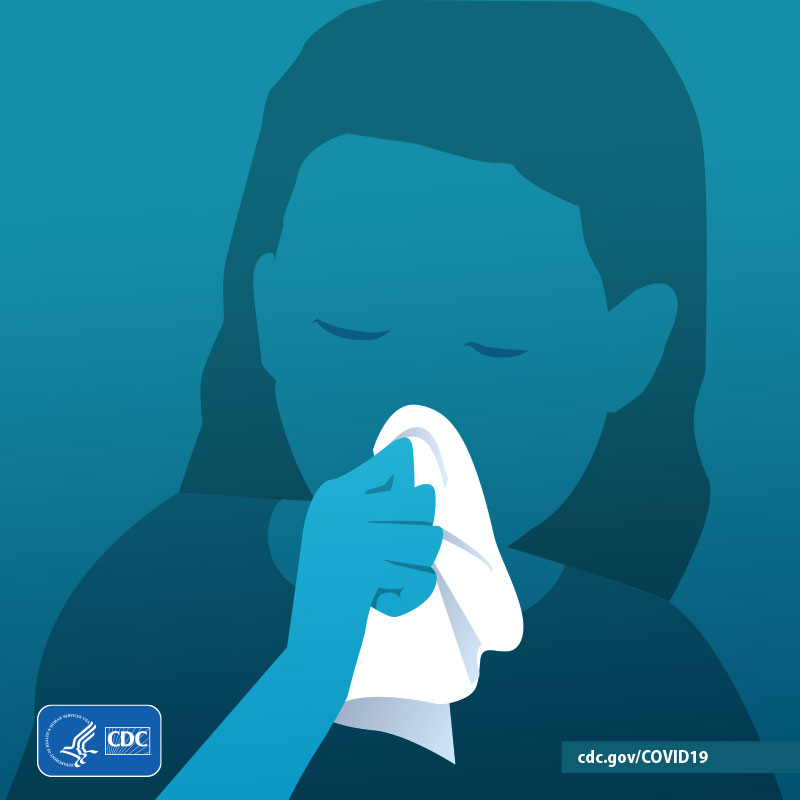 Graphic of person sneezing into a tissue.