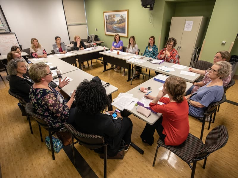 FAST members gather monthly to discuss ideas for improving patients' experiences at Batson Children's Hospital.