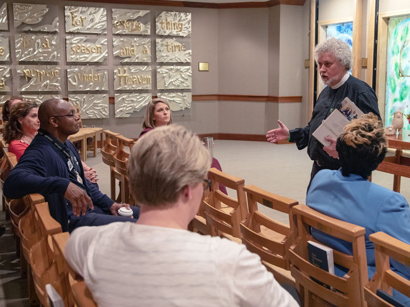 Hospital chaplain Jeffery Murphy talks with clergy, FAST members and hospital leaders during an informational program held earlier this month.