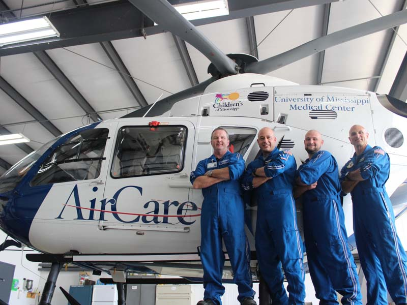 The crew of AirCare2 stationed in Meridian includes, from left, flight registered nurses Todd Perry and Brock Whitson, flight paramedic Ben White and pilot Davin Mancini. Bill Graham/The Meridian Star
