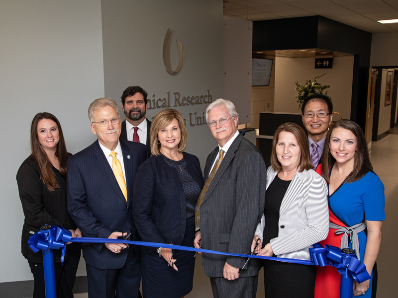 Participating in the CRTU's ribbon-cutting are, from left, Heather Vaughn, Dr. Gailen Marshall, Dr. Josh Gladden, Dr. LouAnn Woodward, Dr. Richard Summers, Jennifer Weis, Dr. Shou-Ching Tang and Leslie Musshafen.