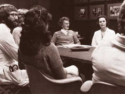 Computer Lab 1B on the first floor of the School of Health Related Professions will soon be dedicated to Florence E. King, center, in this undated photo. King served as nursing program coordinator at UMMC from 1977-84.