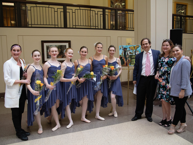 "Laurilyn Fortner, second from right, meets with dancers and staff from Ballet Mississippi following ""Franny's Hour."" They are, from left, Cherri Barnett, associate artistic director; Jordan Ann Winborne; Aislynn McCarron; Frances Claire Jackson; Jamie Jenkins; Caroline Yelverton; Frances Madden; David Keary, artistic and executive director; (Laurilyn Fortner); and Elizabeth VanDeburgh, associate executive director."