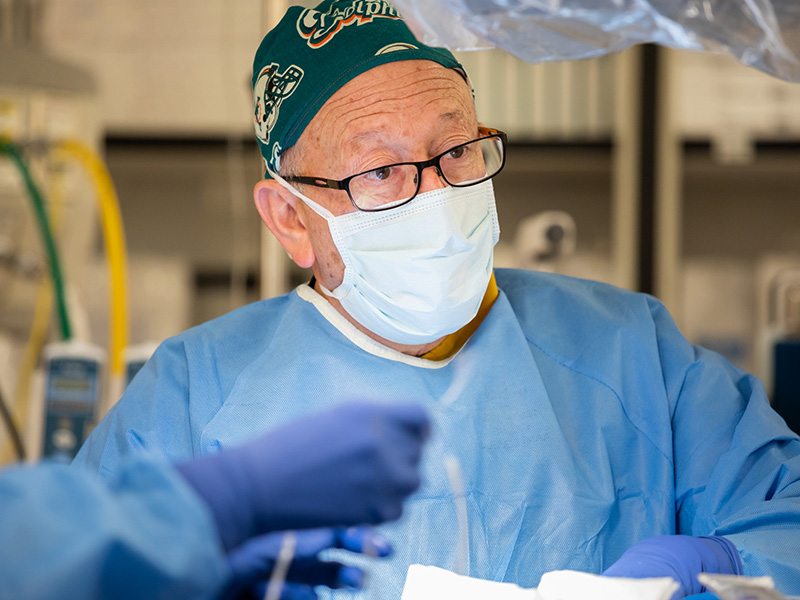 Dr. William Moskowitz is shown during a catheterization procedure.