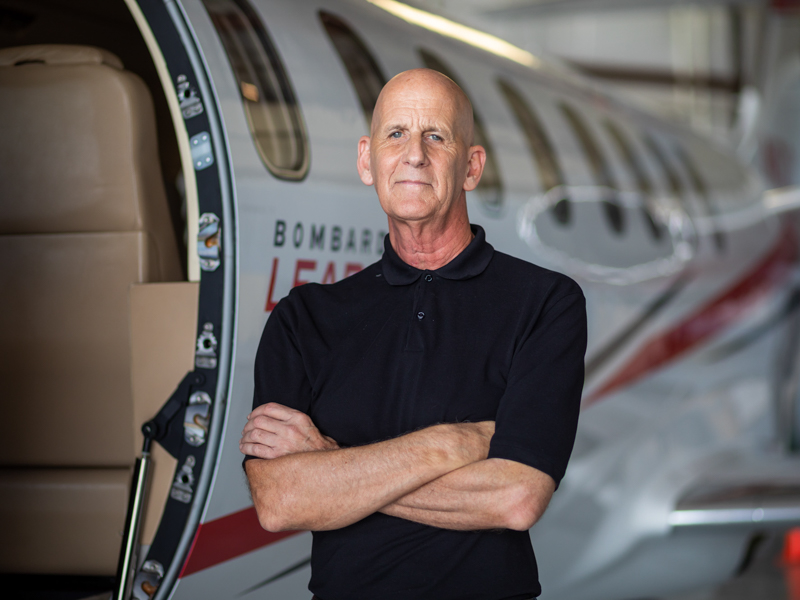 Greg Meadows of Laurel, a corporate jet pilot, also is a cancer survivor. Surgeons at UMMC used a flexible robotic instrument with attached scope to access a malignancy in his throat.