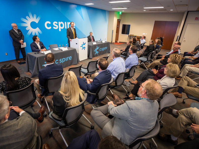 Representatives of C Spire, the University of Mississippi Medical Center and the Mississippi Telehealth and Rural Health Associations gather to unveil the new C Spire He