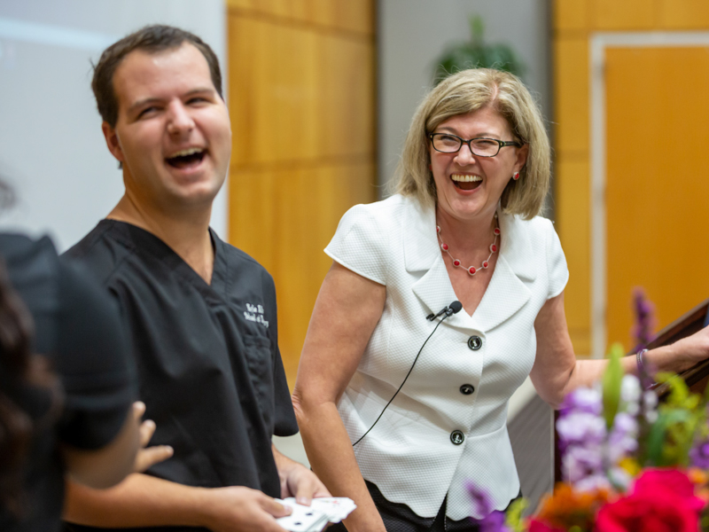 First-year dental student Kyle Alford learns the joke's on him during an exercise led by author Sonja Lauren.