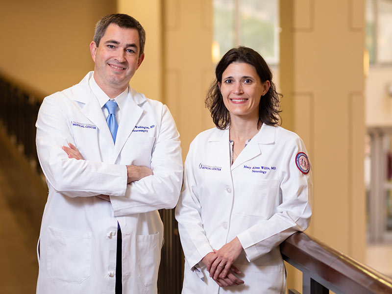 Former School of Medicine classmates Dr. Chad Washington and Dr. Alissa Willis have reunited at the Medical Center as chairs of different departments, but are working together to treat many of the same patients.