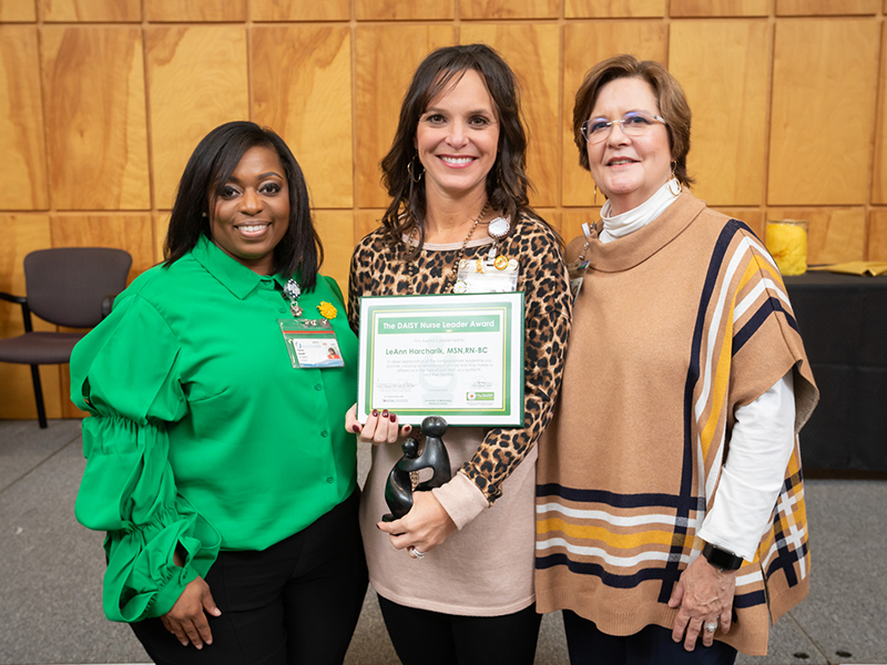 From left, Patrice Donald, magnet program manager in the Office of Nursing Quality and Development; LeAnn Harcharik, 4 Wiser nurse manager and DAISY Nurse Leader Award winner; and Terri Gillespie, chief nursing executive and clinical services officer for the UMMC Health System.