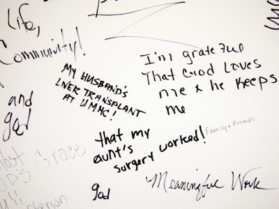 Students, faculty and staff have penned messages of gratefulness on large posters scattered over the UMMC campus.