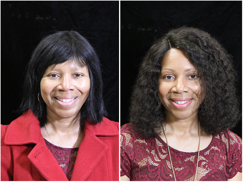 Moore before, right, and after her makeover.