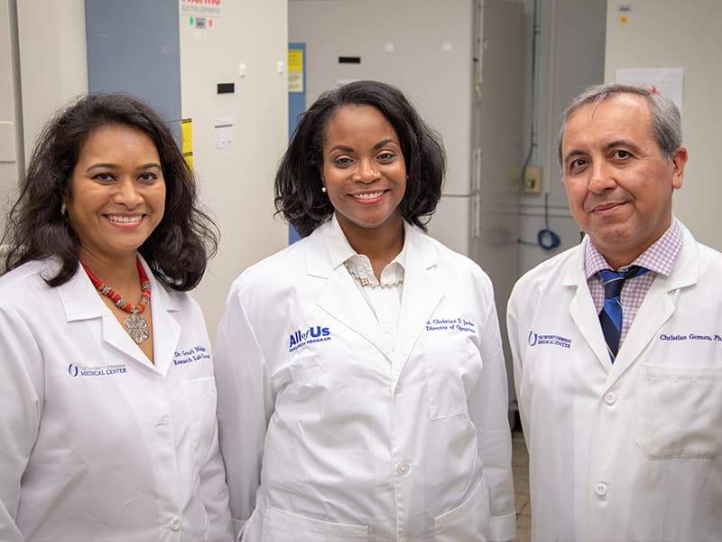 A portrait of the three people on the BioBank Leadership team.