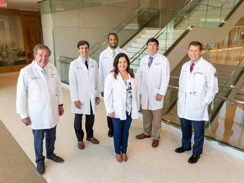 Kitt Bailey, front, an OCH nurse practitioner, is seeing patients at Oktibbeha County Hospital along with University Heart cardiologists, from left, Dr. Bryan Barksdale, Dr. Trey Clark, Dr. James Pollard, Dr. Michael Hall and Dr. Mike McMullan.